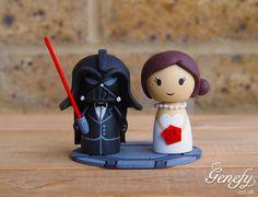Star Wars Darth Vader and Bride wedding cake topper.  https://www.facebook.com/genefyplayground