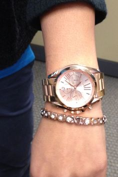PD rose gold plated bracelet beautifully paired with rose gold watch.