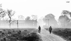 Early winter mornings en route to work. by anant_agarwal  mist trees sunrise winter people travel tourism black and white nikon life india monochrome traveler