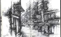 Sketchbook Drawing with Fine Line Pen from Mid-Levels in Hong Kong Ian Murphy A Level Art Sketchbook, Travel Sketchbook, Sketchbook Drawings, Ink Drawings, Sketchbook Ideas, Building Sketch, Building Drawing, Building Art, Animal Sketches