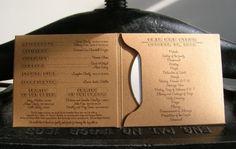 Letterpress Wedding Program/DVD Sleeve: Custom letterpress printed on 100% recycled chipboard with soy-based inks. A memento for your wedding program and a sleeve for your wedding mix or slide show.