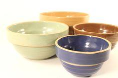 Love these vtg USA pottery nesting bowls