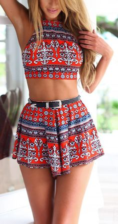 Stylish Lady Sexy Women's Geometric Pattern Clothes Set Backless Off-shoulder Crop Tops and Shorts Boho Outfits, Summer Outfits, Cute Outfits, Fashion Outfits, Crop Top Und Shorts, High Waisted Shorts, Crop Tops, Cut Shorts, Tank Tops