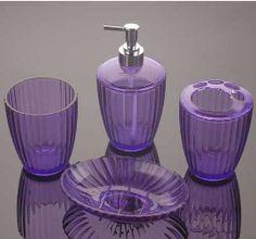 Set de accesorios para cuarto de baño de acrílico morado diseño líneas de C/4 pzas