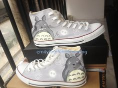 Hand Paint High Top Shoes My Neighbor Totoro Inspired