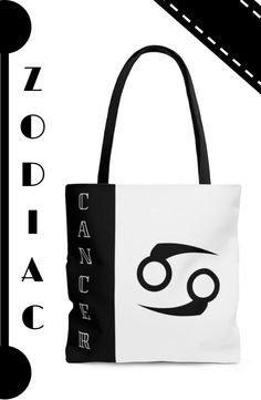 Step out in style with this elegant white and black tote bag. A perfect choice for light weekend shopping, or a casual accessory to flaunt your Zodiac sign...