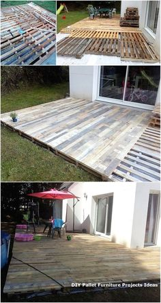 Incredible Wood Pallet Ideas and Projects DIY Holzpaletten Terrasse Terrasse Pallet Patio Decks, Backyard Patio Designs, Diy Patio, Backyard Landscaping, Outdoor Pallet, Pallet Porch, Wood Patio, Pergola Patio, Palet Deck