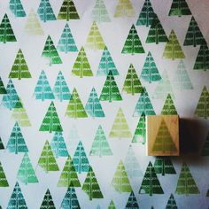 New Xmas tree stamp in action http://www.yellowowlworkshop.com/collections/for-holidays #diy, #christmas