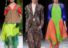 Paris Fashion Week   Spring/Summer 2014   Print Highlights Part 3 catwalks Layered Looks – Clashing Colour Combination – Asymmetric Shapes –  Neon Brights – Digitised Camo Prints – Electric Blue and Orange – Luminous Green and Yellow