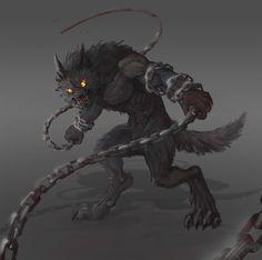 Werewolf, Yana Pronskaya on ArtStation at https://www.artstation.com/artwork/NaQab