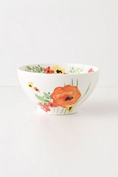 #Watercolor #poppies bloom on every square inch of white porcelainware, creating painterly garnishes for all of your sumptuous courses
