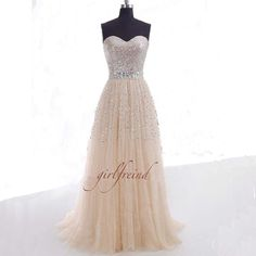 Comes in a long version, too! Gorgeous sweetheart sequins tulle prom dress / by GirlsProms, $268.90