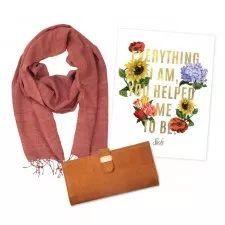 Mother's Day Package | Sseko Designs. The perfect gift for mom, featuring a handwoven silk scarf, caramel leather travel wallet and a unique Mother's Day print!