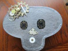 Paper Mache Frida Kahlo Steampunk Skull Jewelry Box by jansbeads