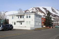 Front Exterior View of Dalvik Hostel, Iceland