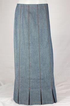 Pleated Panel Vintage Long Jean Skirt, Sizes 4-18: theskirtoutlet.com