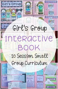 Girl's Group (Interactive Book) – Mrs. Bell The Crafty Counselor Girl's Group (Interactive Book) – Mrs. Bell The Crafty Counselor,Friendship Skills Girl's Group (Interactive Book) 10 sessions to help teach the difference between. Middle School Counseling, Elementary School Counselor, School Social Work, Elementary Schools, School Counselor Lessons, School Counselor Office, Counseling Activities, Group Counseling, Therapy Activities