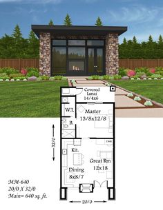 Soma Modern House Plan modern small house plans is a beautiful example of how to design a tiny home and not lose any substance. This modern small home plan is the perfect in law, guest house addition to your property. Guest House Plans, Bedroom House Plans, Small House Plans, House Floor Plans, Tiny Home Floor Plans, Guest Houses, Tiny House Design, Modern House Design, Plan Chalet