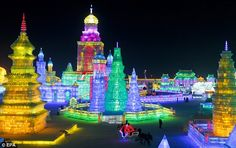 Harbin Ice and Snow Festival in Harbin, China is most exquisite ice and snow sculptures in the world. Officially, the festival starts on January 5 and lasts one month Harbin, Ice City China, Winter In Japan, Celebration Around The World, Snow Sculptures, Festivals Around The World, Snow And Ice, We Are The World, The Good Place