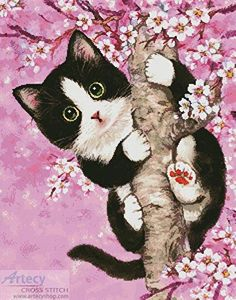 Cherry Blossom Cat - Cross Stitch Chart : Artecy Cross Stitch Shop, Quality Cross Stitch Patterns to print online. I Love Cats, Cute Cats, Funny Cats, Image Chat, Animal Drawings, Cat Art, Cats And Kittens, Cross Stitch Patterns, Cute Animals