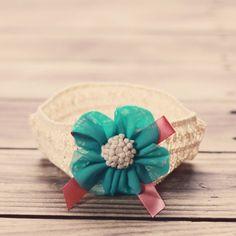 Vindie Blue Flower Headband