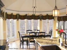 Iron Art Fleur de Lis medallions in the awesome valance treatment in a kitchen. Window Hardware, Drapery Hardware, Valance Curtains, Valances, Budget Blinds, Custom Window Treatments, Iron Art, House Plans, Windows