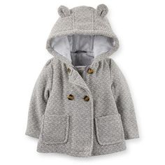 Grey Hooded Baby Coat $37.20 - Oh my goodness could this get any cuter?