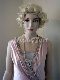 Gatsby Inspired Latte Glass Pearl Flapper Necklace with Diamantes Silver Plated  $119.95