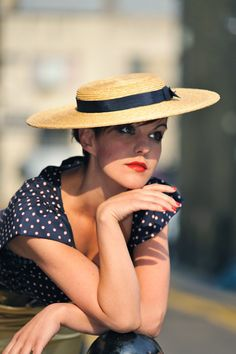 Straw hats and navy polka dots