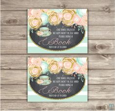 A personal favorite from my Etsy shop https://www.etsy.com/ca/listing/267116638/book-request-baby-shower-tea-pink-and