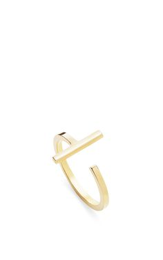 14 K Yellow Gold T Bar Ring by MATEO for Preorder on Moda Operandi