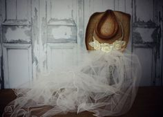 Ivory cowgirl hat and veil-cowgirl hat-western bride-bride to be-cowgirl wedding hat-rustic wedding-rustic bride-bachelorette