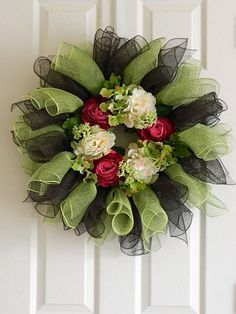 Deco Poly Mesh Wreath in Green Pink and Chocolate by BellaFrog, $68.00