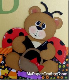 Cricut Paper Piecing Cartridge Critters Bear as Lady Bug from Doodlecharms Cartridge. Details: http://www.mypapercrafting.com/2013/10/Doodlecharms-treat-sign.html