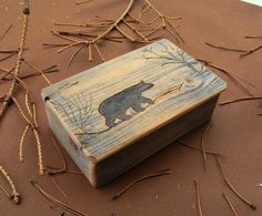 Handmade Rustic Wood Keepsake BOX with etched Bear ..from reclaimed weathered barnwood