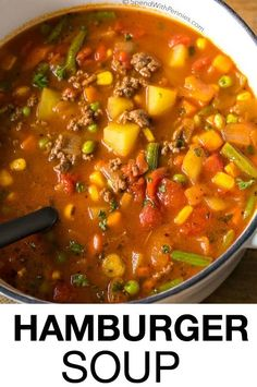 Hamburger Soup is a quick and easy meal loaded with vegetables, lean beef, diced tomatoes and potatoes. It's great made ahead of time, reheats well and freezes perfectly (quick and easy soup vegetables) Easy Hamburger Soup, Hamburger Vegetable Soup, Hamburger Soup With Noodles, Hamburger Soup With Barley, Vegetable Soup With Noodles, Quick Vegetable Soup, Slow Cooker Hamburger Soup, Hamburger Crockpot Recipes, Fast Recipes