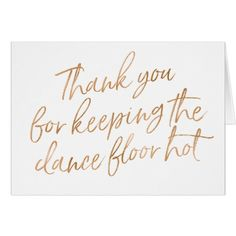 """Gold Rose Hand Lettered """"Thank you"""" DJ, Musician Card"""