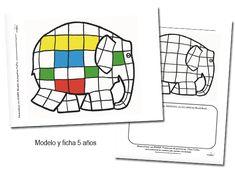 Cuatro actividades matemáticas sobre Elmer, el bromista elefantito de colores. Problemas de peticiones de gomets. Imprimibles gratis