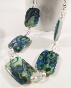 $24 Abalone stone necklace, turquoise, blue, green, rectangle, abalone, matching jewelry, duo by DesignsByDeirdreShop on Etsy https://www.etsy.com/listing/547704515/abalone-stone-necklace-turquoise-blue