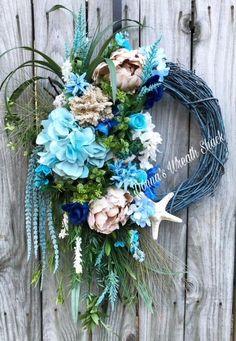 Beach 18 Inch Grapevine Wreath painted with Fusion Renfrew Blue Paint Diy Wreath, Door Wreaths, Grapevine Wreath, Wreath Making, Coastal Decor, Coastal Curtains, Coastal Rugs, Coastal Furniture, Modern Coastal
