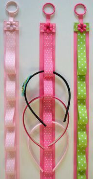 Kids ribbon headband holder...site has other ideas i liked for paper coffee filter, plastic pant hanger, cell phone holder and hex nut bracelet