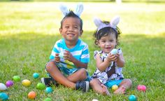 """Cheap Easter Photo..All u need are plastic eggs,bunny ears, a camera, park or grassy area, and maybe u can rent a """"kid"""" or two..lol..Happy Easter!"""