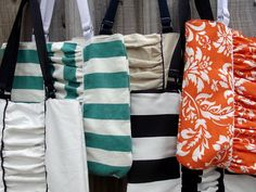 Ruched Tote Bag Sewing Tutorial - by Abby of Morning by Morning Productions    I love these bags because they offer texture and a very pretty focal point.