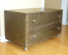 Vtg 1960'S Brass CHEST of DRAWERS TRUNK Studded COFFEE TABLE ~ Sarried Ltd STYLE #Industrial #Unknown