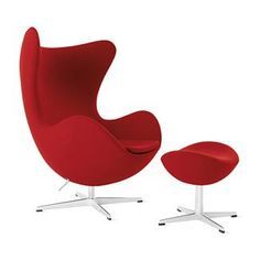 Arne Jacobsen designed the SAS Royal Hotel in Copenhagen, as well as many of the furnishings. For its busy lobby, he created the biomorphic Egg (1958) and Swan, which are believed to be the first swiveling upholstered chairs. More than 50 years after its design, the Egg Chair is still used in advertising, film and television as a symbol of sophisticated urbanism.