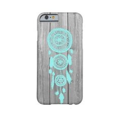 Hipster vintage teal dreamcatcher on gray wood Barely There Iphone 6... (55 CAD) ❤ liked on Polyvore featuring accessories, tech accessories, phone cases, phone and tech