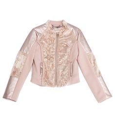 Miss Grant udsalg børnetøj Powder pink bikerjakke med ecolæder og ecopels tilbud børnetøj