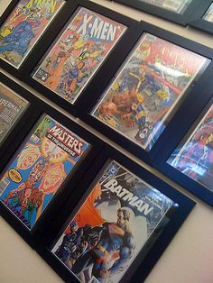 Cheap way to frame and hang comics - what a great, inexpensive solution for all those comic books taking up space on my shelf...