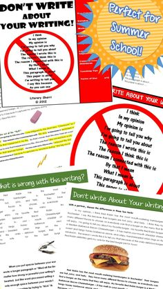 """Perfect for summer school -- no prep required! Do your students fill their paragraphs with """"fluff"""" phrases such as, """"In my opinion, I believe . . ."""" or, """"This is why I wrote about . . . """" Helping them drop these empty phrases will improve their writing by leaps and bounds! Here's a mini-lesson developed to teach students to write about their topic, not about their writing! Classroom poster, worksheets, writing assignment all included. #middleschoolela #middleschoolwriting"""