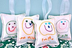 handmade christmas ornaments made from kids drawings